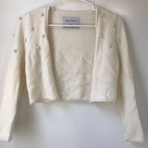 NWOT Jesus Peiro White Cashmere Crop Cardigan M